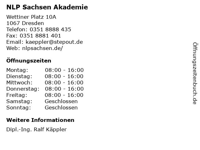 NLP Sachsen Akademie in Dresden: Adresse und Öffnungszeiten