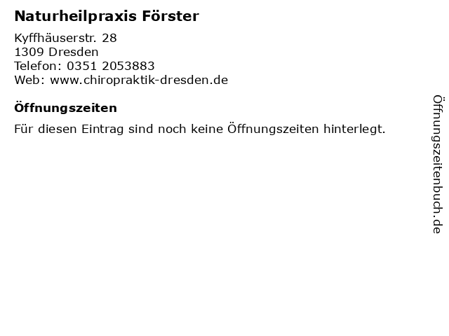 Naturheilpraxis Förster in Dresden: Adresse und Öffnungszeiten