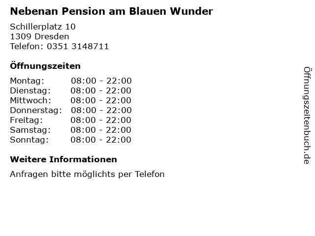 Nebenan Pension am Blauen Wunder in Dresden: Adresse und Öffnungszeiten