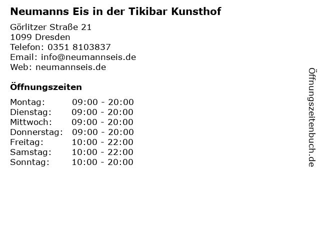 Neumanns Eis in der Tikibar Kunsthof in Dresden: Adresse und Öffnungszeiten