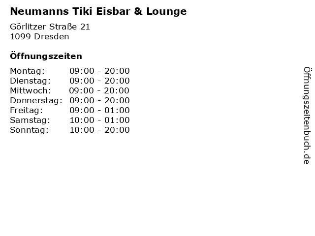 Neumanns Tiki Eisbar & Lounge in Dresden: Adresse und Öffnungszeiten