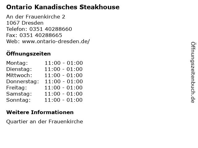 Ontario Kanadisches Steakhouse in Dresden: Adresse und Öffnungszeiten