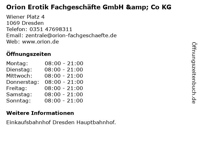 Orion Erotik Fachgeschäfte GmbH & Co KG in Dresden: Adresse und Öffnungszeiten