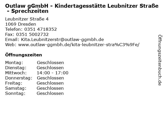Outlaw gGmbH - Kindertagesstätte Leubnitzer Straße - Sprechzeiten in Dresden: Adresse und Öffnungszeiten