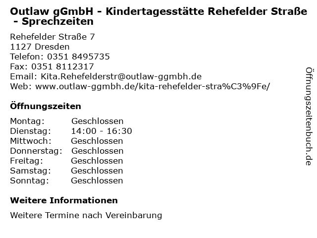 Outlaw gGmbH - Kindertagesstätte Rehefelder Straße - Sprechzeiten in Dresden: Adresse und Öffnungszeiten