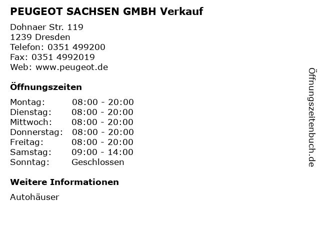 PEUGEOT SACHSEN GMBH Verkauf in Dresden: Adresse und Öffnungszeiten