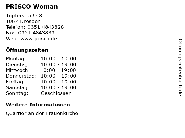 PRISCO Woman in Dresden: Adresse und Öffnungszeiten