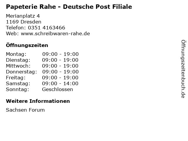 Papeterie Rahe - Deutsche Post Filiale in Dresden: Adresse und Öffnungszeiten