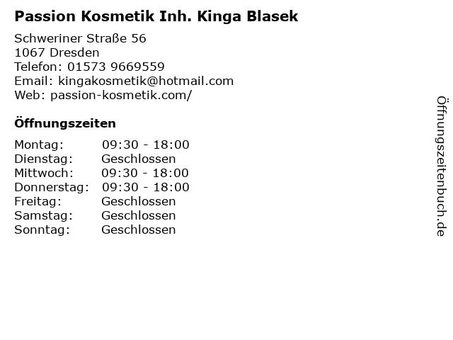 Passion Kosmetik Inh. Kinga Blasek in Dresden: Adresse und Öffnungszeiten