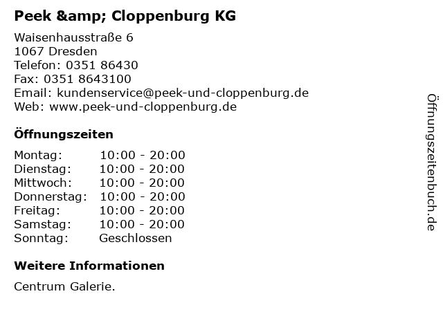 Peek & Cloppenburg KG in Dresden: Adresse und Öffnungszeiten