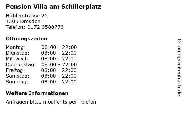 Pension Villa am Schillerplatz in Dresden: Adresse und Öffnungszeiten