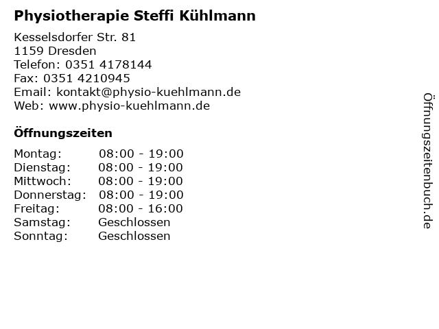 Physiotherapie Steffi Kühlmann in Dresden: Adresse und Öffnungszeiten