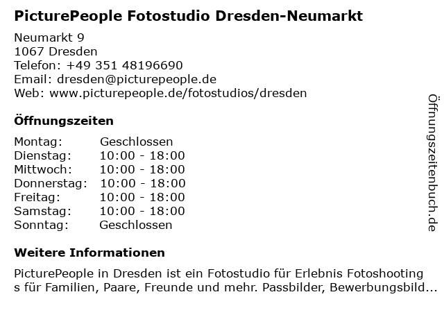 PicturePeople Fotostudio Dresden-Neumarkt in Dresden: Adresse und Öffnungszeiten
