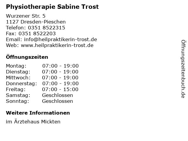 Physiotherapie Sabine Trost in Dresden-Pieschen: Adresse und Öffnungszeiten
