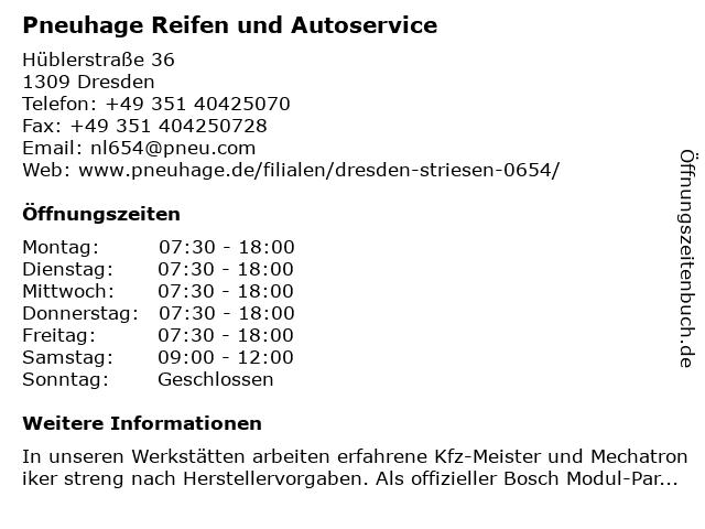 Pneuhage Reifendienste Ost in Dresden: Adresse und Öffnungszeiten