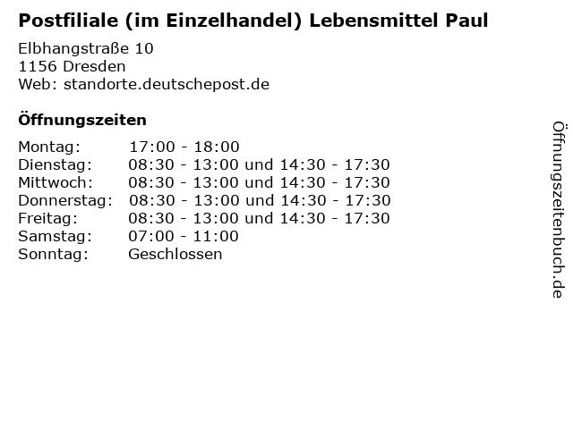 Postfiliale (im Einzelhandel) Lebensmittel Paul in Dresden: Adresse und Öffnungszeiten