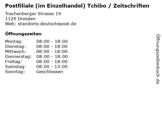Postfiliale (im Einzelhandel) Tchibo / Zeitschriften in Dresden: Adresse und Öffnungszeiten