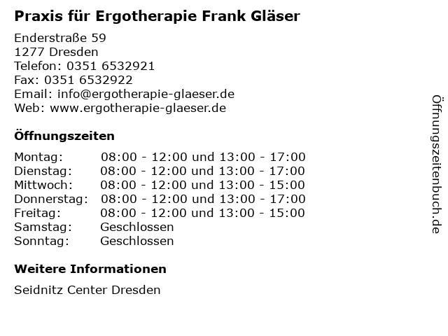 Praxis für Ergotherapie Frank Gläser in Dresden: Adresse und Öffnungszeiten