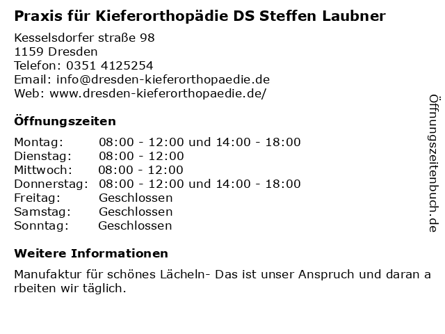 Laubner Steffen Dipl.-Stom. in Dresden: Adresse und Öffnungszeiten