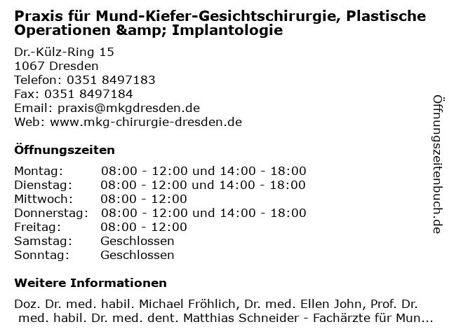 Praxis für Mund-Kiefer-Gesichtschirurgie, Plastische Operationen & Implantologie in Dresden: Adresse und Öffnungszeiten