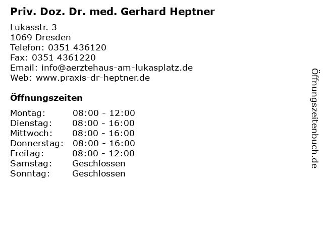 Priv. Doz. Dr. med. Gerhard Heptner in Dresden: Adresse und Öffnungszeiten