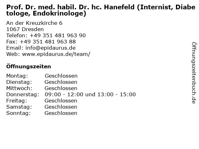 Prof. Dr. med. habil. Dr. hc. Hanefeld (Internist, Diabetologe, Endokrinologe) in Dresden: Adresse und Öffnungszeiten