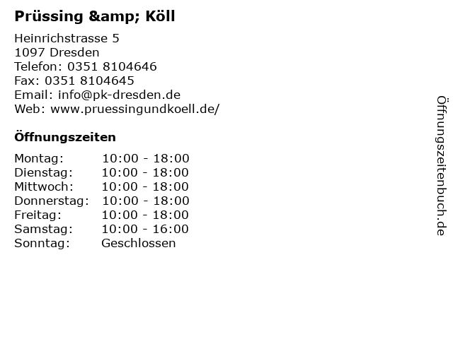 Prüssing & Köll GmbH Herrenausstatter in Dresden: Adresse und Öffnungszeiten