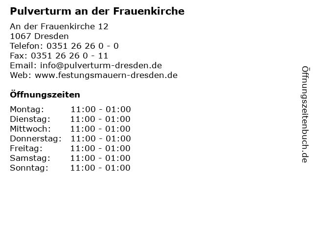 Pulverturm an der Frauenkirche in Dresden: Adresse und Öffnungszeiten