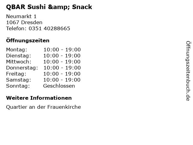 QBAR Sushi & Snack in Dresden: Adresse und Öffnungszeiten