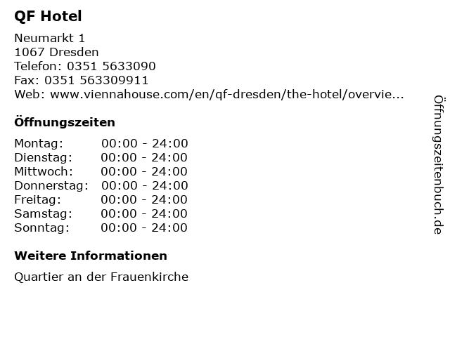 QF Hotel in Dresden: Adresse und Öffnungszeiten