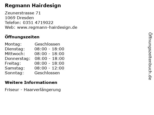Regmann Hairdesign in Dresden: Adresse und Öffnungszeiten