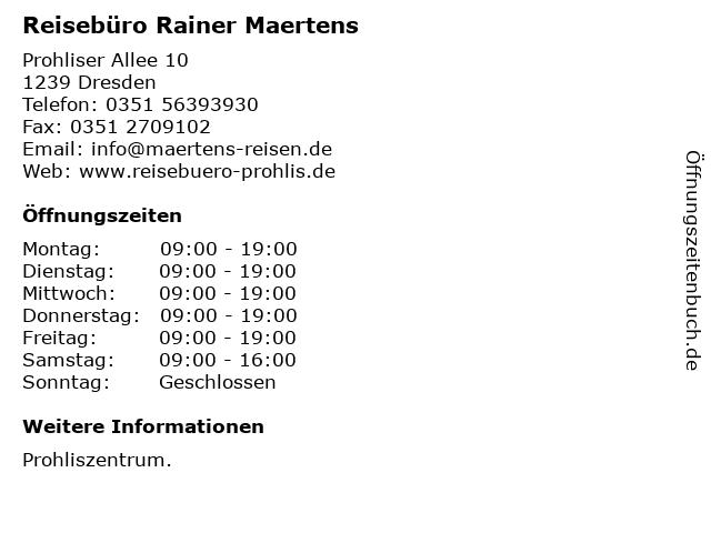 Reisebüro Rainer Maertens in Dresden: Adresse und Öffnungszeiten