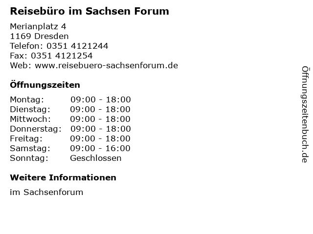 Reisebüro im Sachsen Forum in Dresden: Adresse und Öffnungszeiten