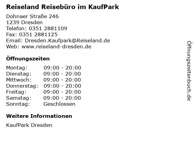 Reiseland Reisebüro im KaufPark in Dresden: Adresse und Öffnungszeiten