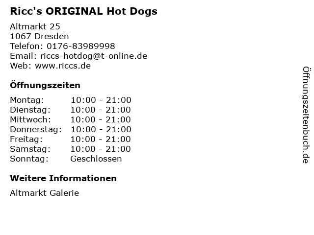 Ricc's ORIGINAL Hot Dogs in Dresden: Adresse und Öffnungszeiten