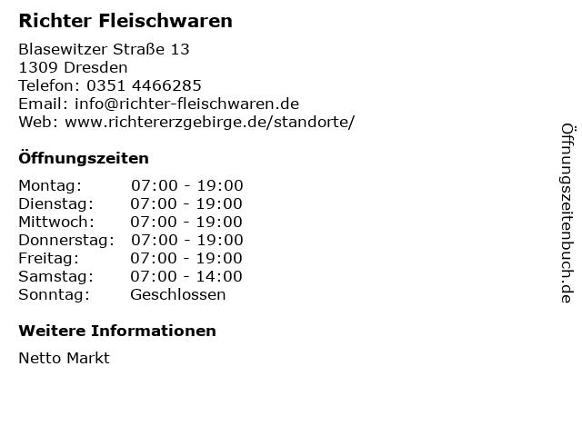 Richter Fleischwaren GmbH & Co.KG in Dresden: Adresse und Öffnungszeiten