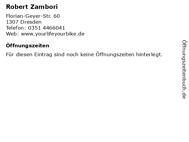 Robert Zambori in Dresden: Adresse und Öffnungszeiten