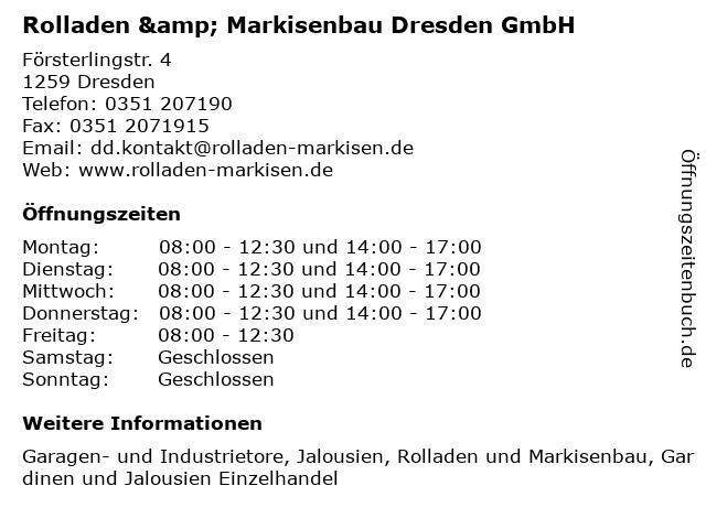 Rolladen & Markisenbau Dresden GmbH in Dresden: Adresse und Öffnungszeiten
