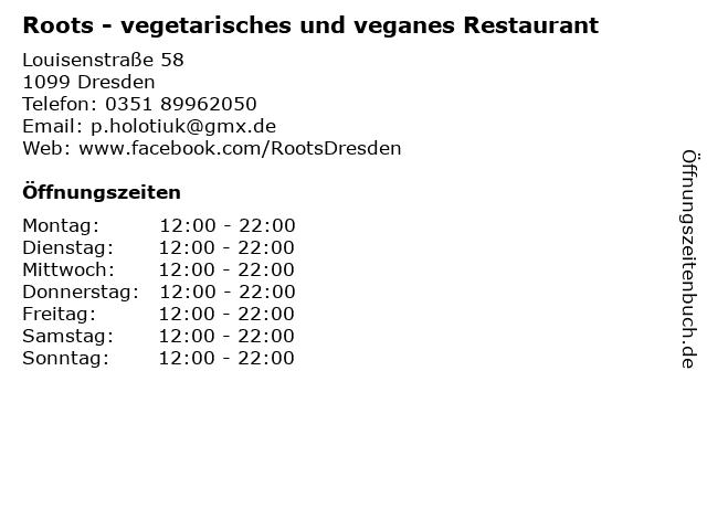 ᐅ öffnungszeiten Roots Vegetarisches Und Veganes Restaurant
