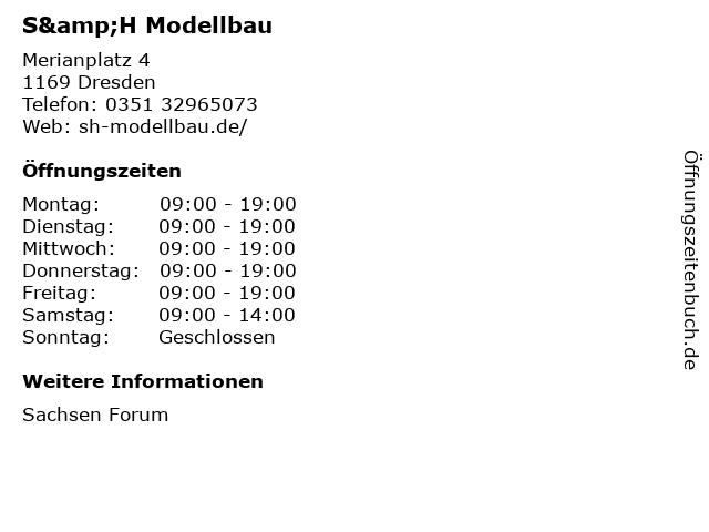 S&H Modellbau in Dresden: Adresse und Öffnungszeiten