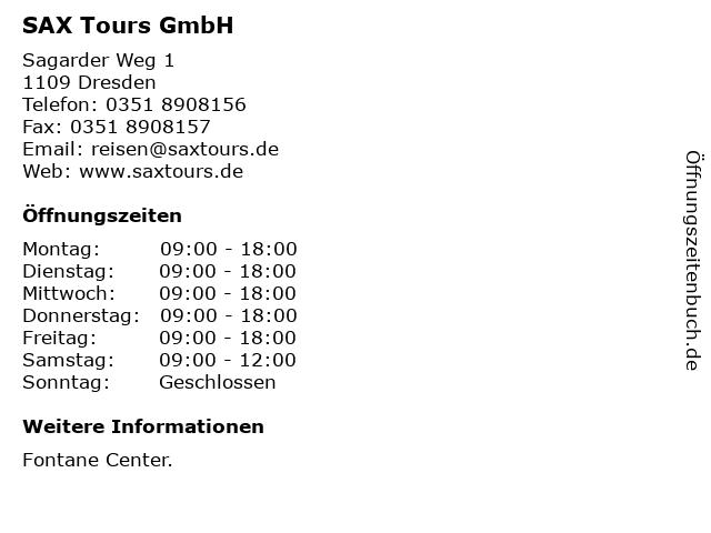 SAX Tours GmbH in Dresden: Adresse und Öffnungszeiten