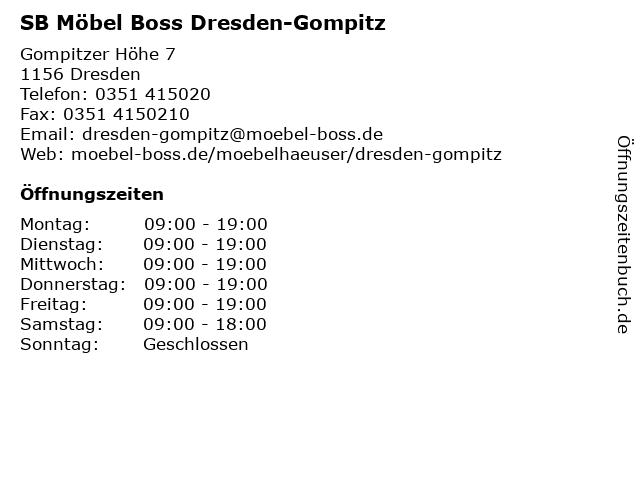 ᐅ öffnungszeiten Sb Möbel Boss Gompitzer Höhe 7 In Dresden