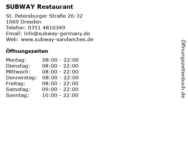 SUBWAY Restaurant in Dresden: Adresse und Öffnungszeiten