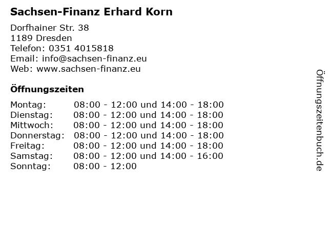 Sachsen-Finanz Erhard Korn in Dresden: Adresse und Öffnungszeiten