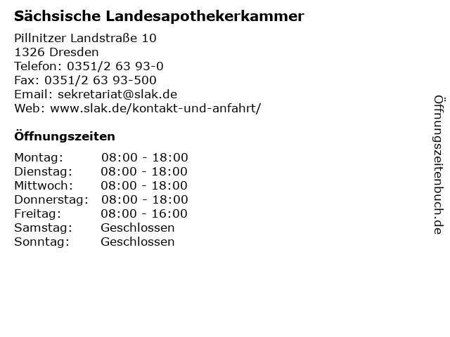 Sächsische Landesapothekerkammer in Dresden: Adresse und Öffnungszeiten