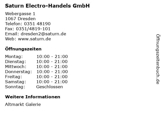 Saturn Electro-Handels GmbH in Dresden: Adresse und Öffnungszeiten
