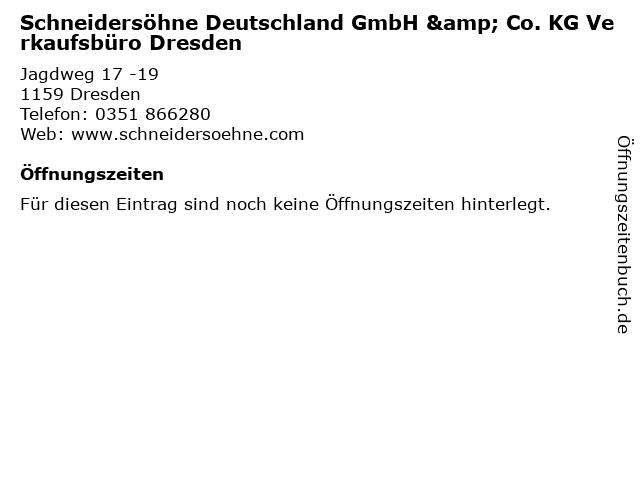 Schneidersöhne Deutschland GmbH & Co. KG Verkaufsbüro Dresden in Dresden: Adresse und Öffnungszeiten