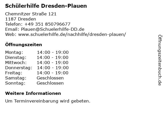 Schülerhilfe Dresden-Plauen in Dresden: Adresse und Öffnungszeiten