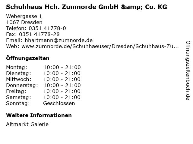Schuhhaus Hch. Zumnorde GmbH & Co. KG in Dresden: Adresse und Öffnungszeiten