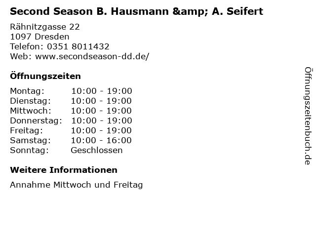 Second Season B. Hausmann & A. Seifert in Dresden: Adresse und Öffnungszeiten